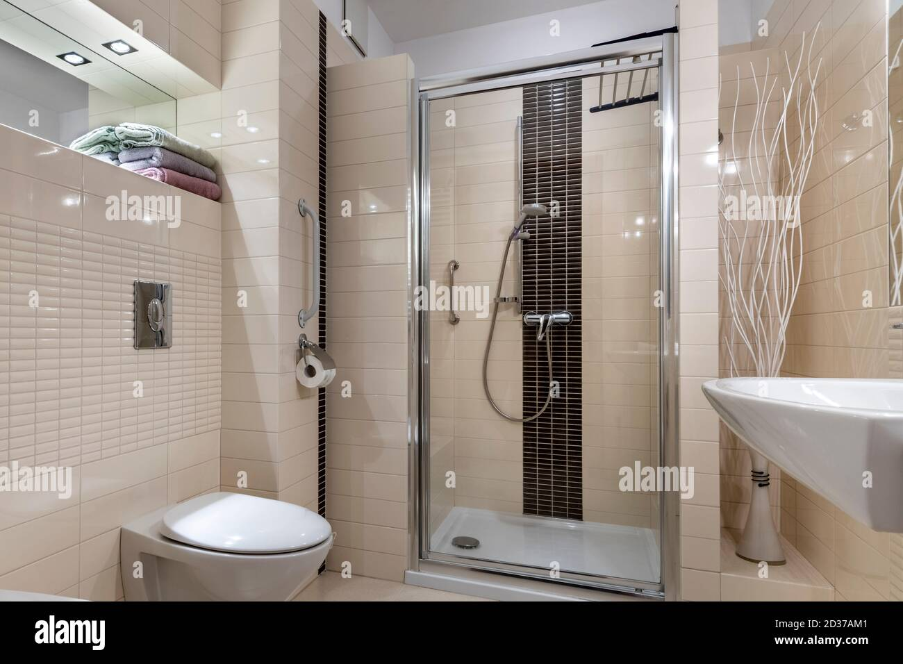 Small Bathroom In Contemporary Compact Style Interior Design Stock Photo Alamy