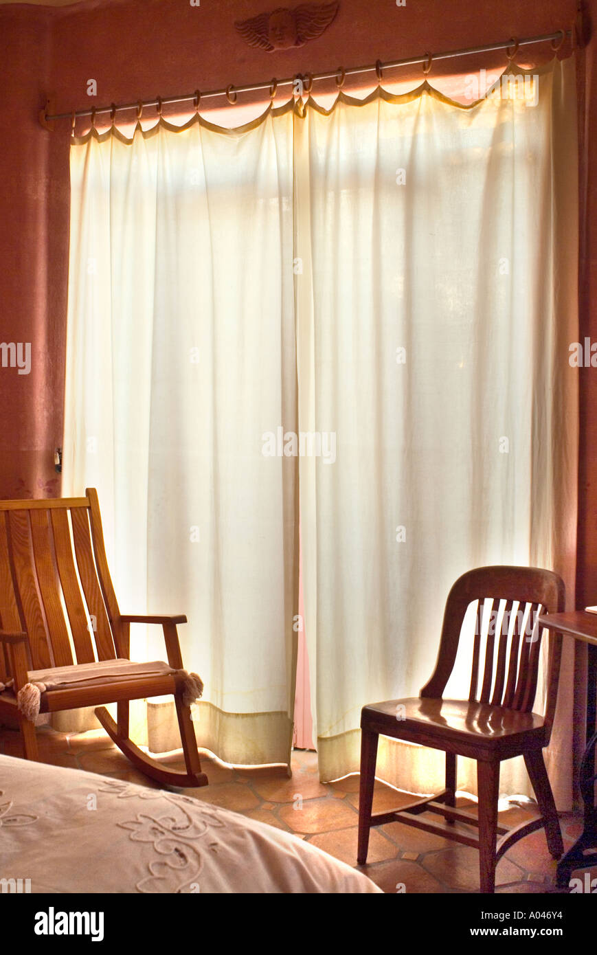 Mexican Rocking Chair Backlit White Curtains In Mexican Style Bedroom Wooden