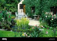 Pond Patio House and small Garden plants flowers table ...