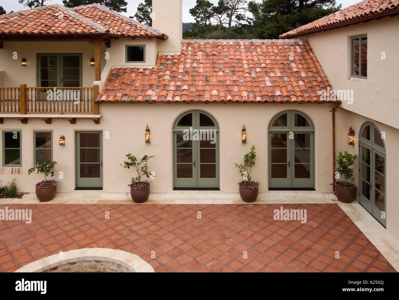 exterior spanish style luxury home stucco walls red tile luxury spanish style hacienda marisol malibu february