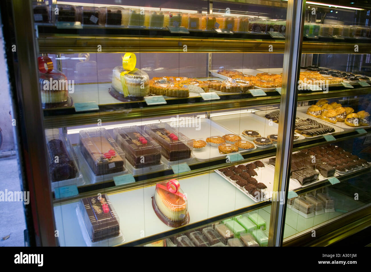 Bakery Display Cabinet A Display Cabinet Full Of Pastries In A Fancy Pastry Shop In