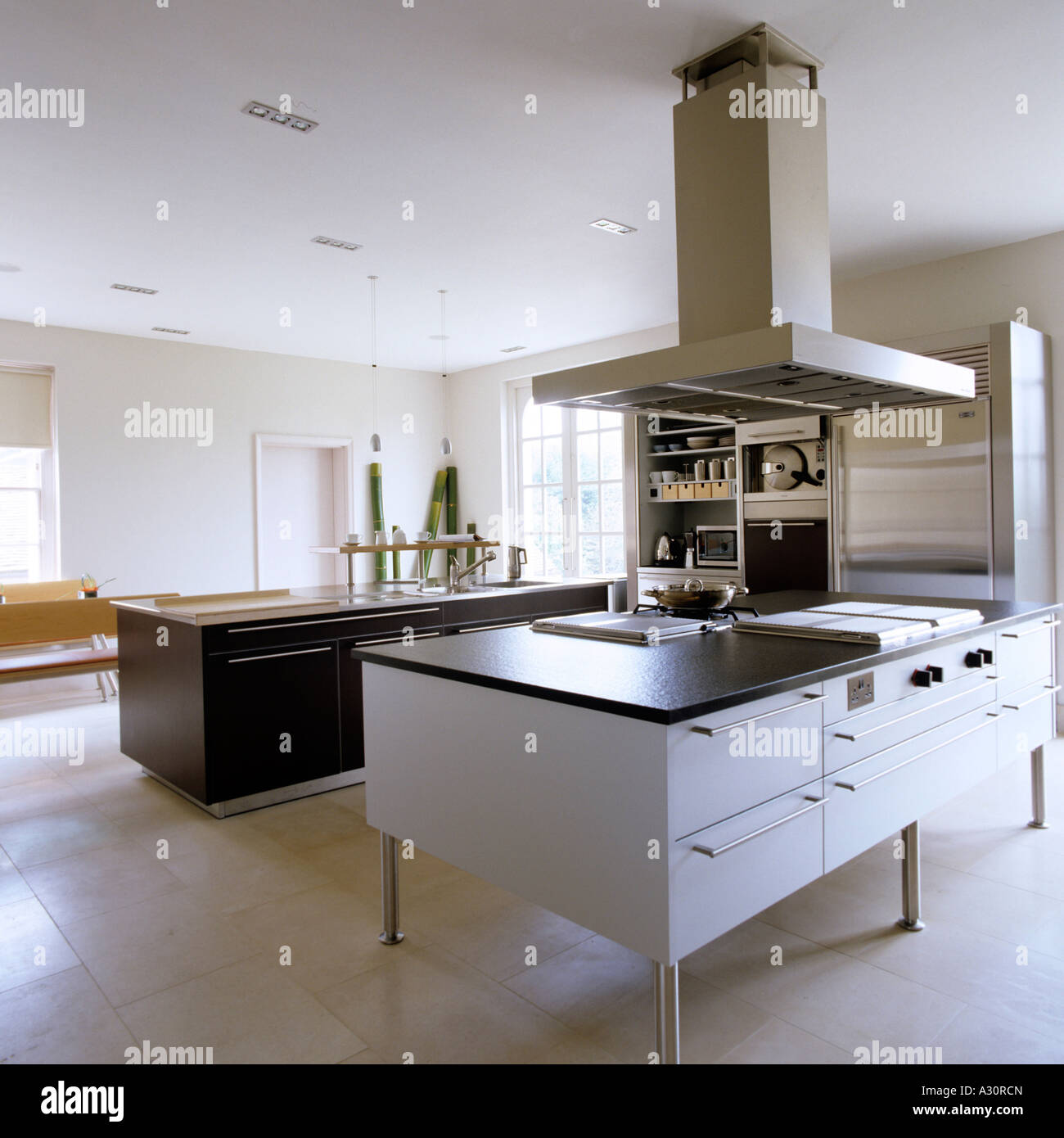 Modern Kitchen Fans Modern Kitchen With Island And Large Extractor Fan Stock