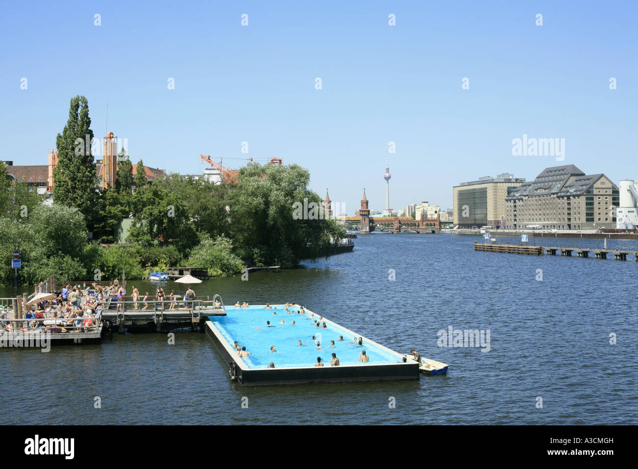 Outdoor Swimming Pool Berlin A Pool Ship In The Spree Germany Berlin Stock Photo