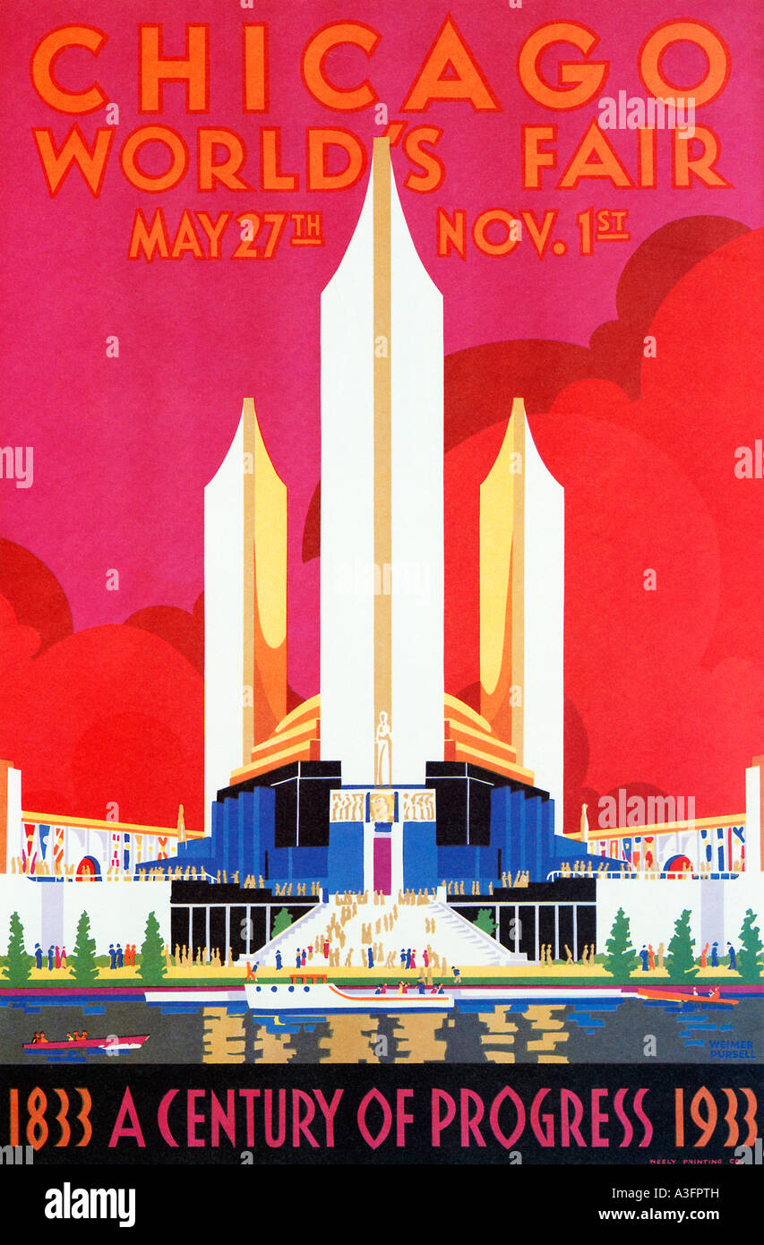 Deco Poster Chicago Worlds Fair 1933 Art Deco Poster For The Illinois