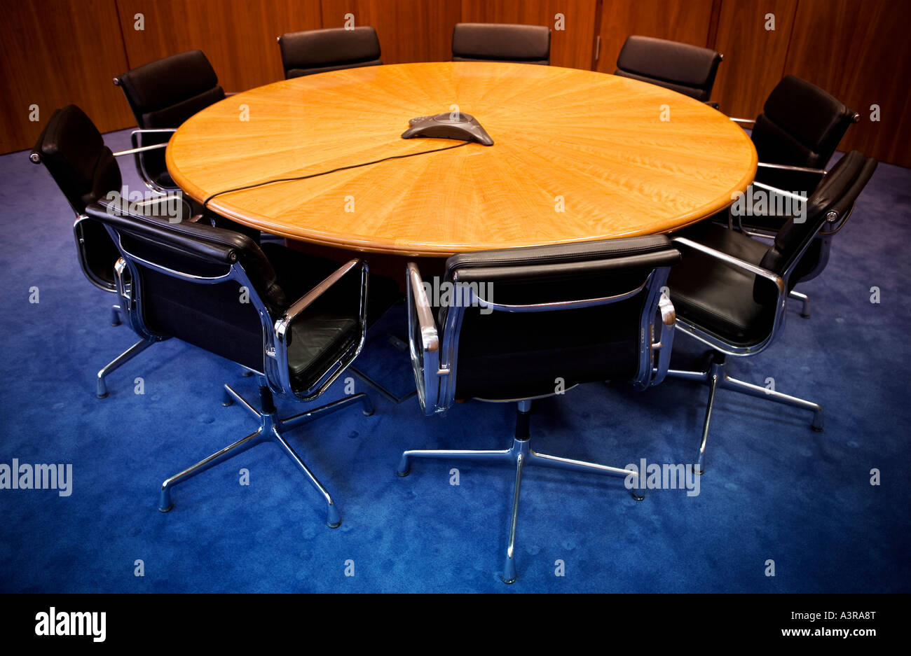Meeting Room Tables Empty Meeting Room With Round Table And Chairs Stock Photo