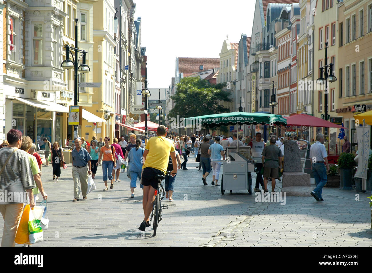 Rostock Shopping Pedestrian Shopping Street In Rostock East Germany Stock Photo