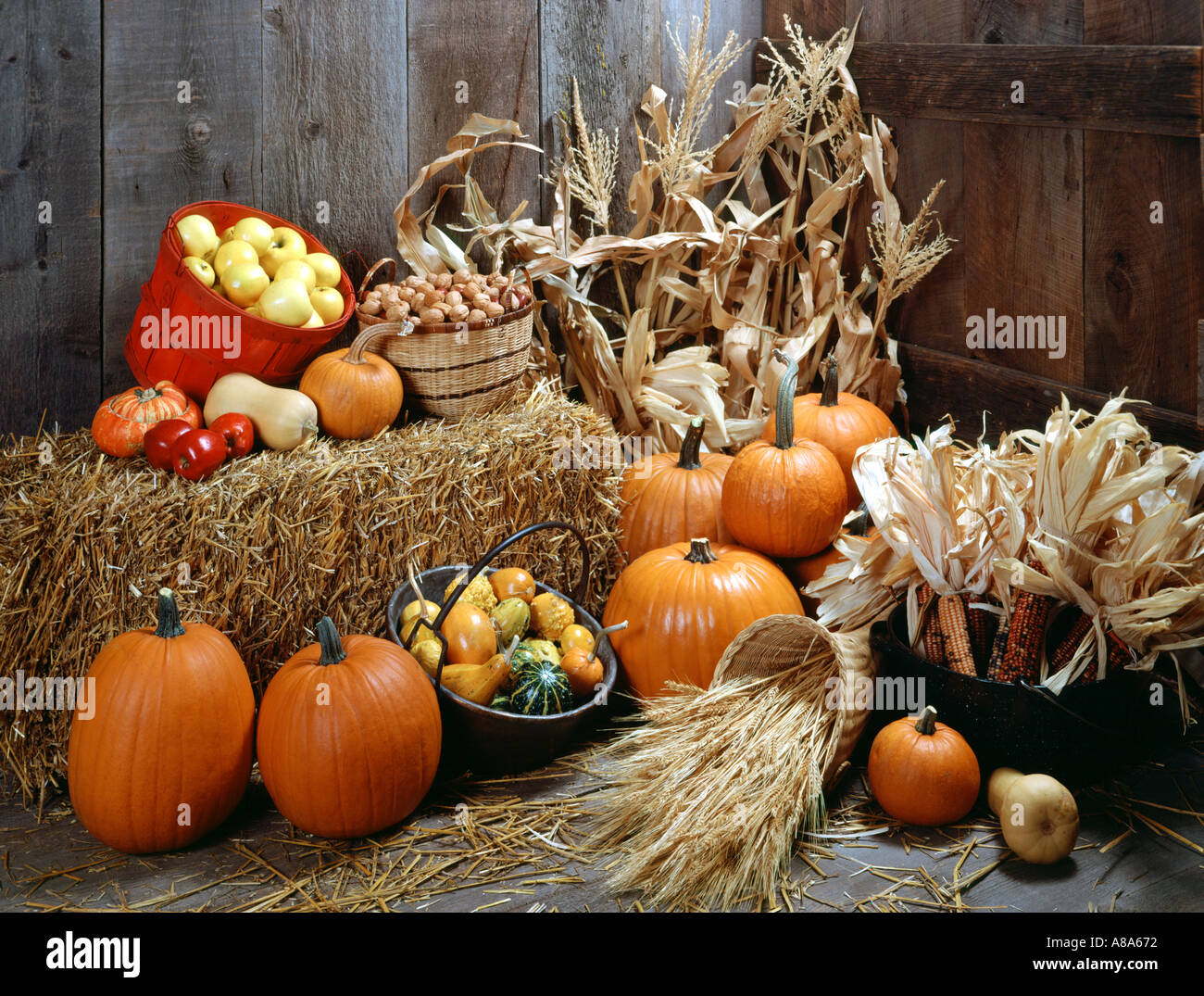 Fall Pumpkin Computer Wallpaper Fall Harvest Still Life With Bale Of Hay And Old Wood
