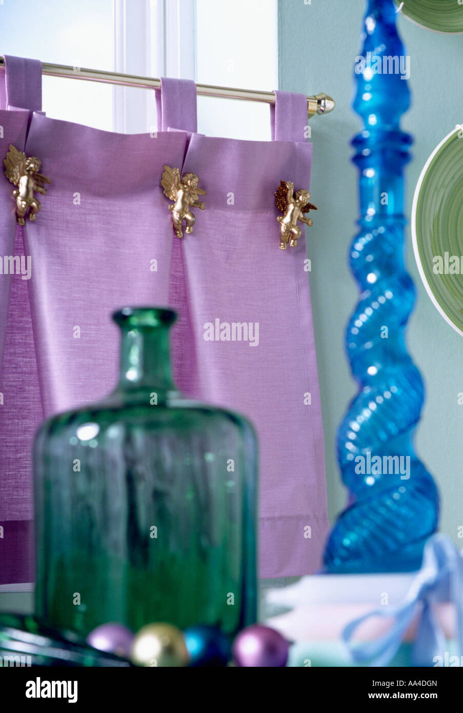 Cafe Curtain Clips Purple Silk Cafe Curtain With Gilt Angel Clips Above Blue And