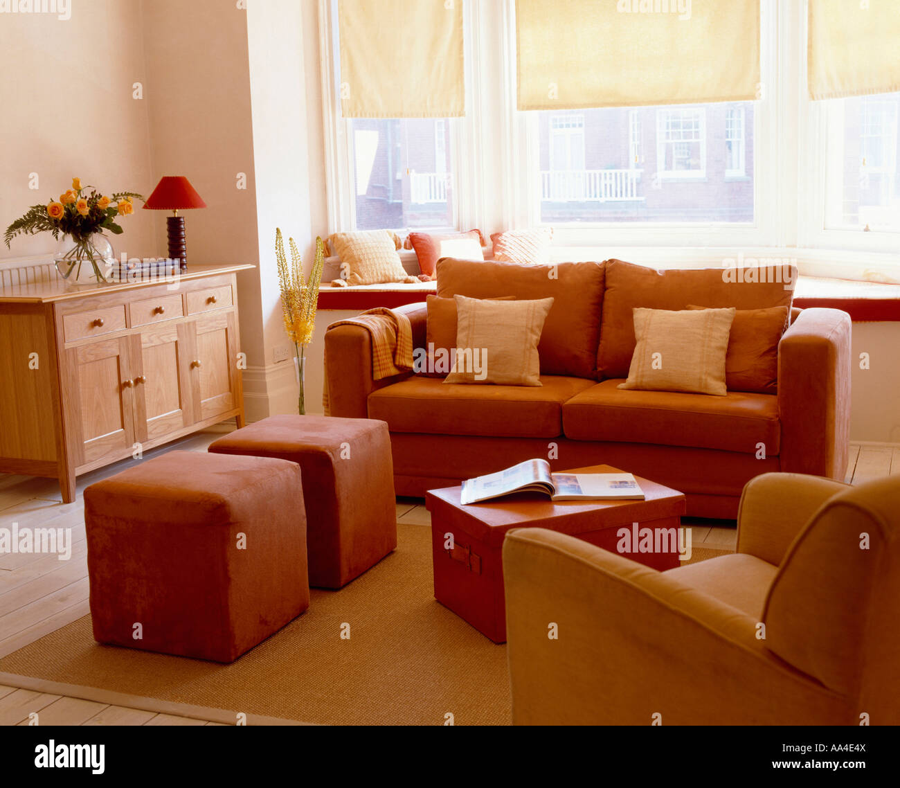 Living Room Stools Uk Modern Livingroom With Terracotta Sofa And Upholstered