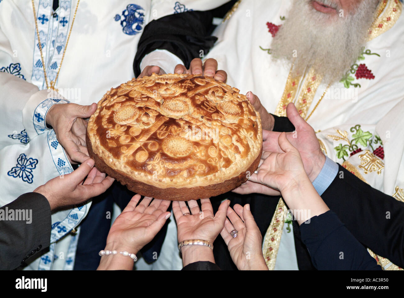Stock Cuisine Saint Priest Orthodox Priests Blessing Bread During Holy Communion On Saint