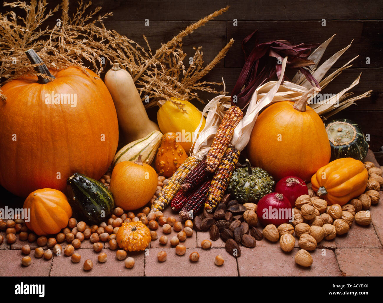 Live Wallpaper Fall Leaves Fall Harvest Of Pumpkins Gourds Onions Squash Indian Corn