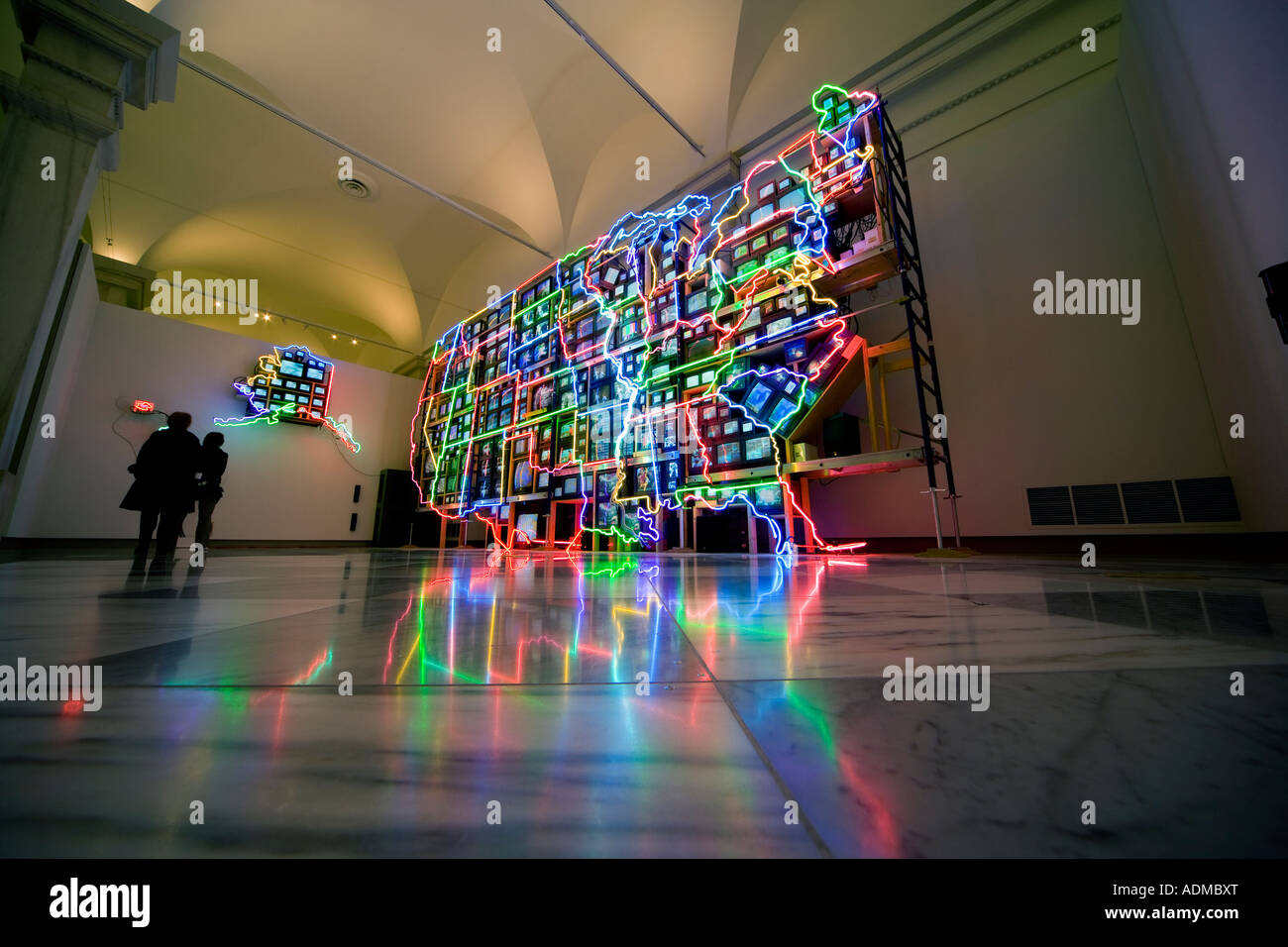 Video Art Neon Map Of The Usa In Sculpture Video Art Installation Electronic