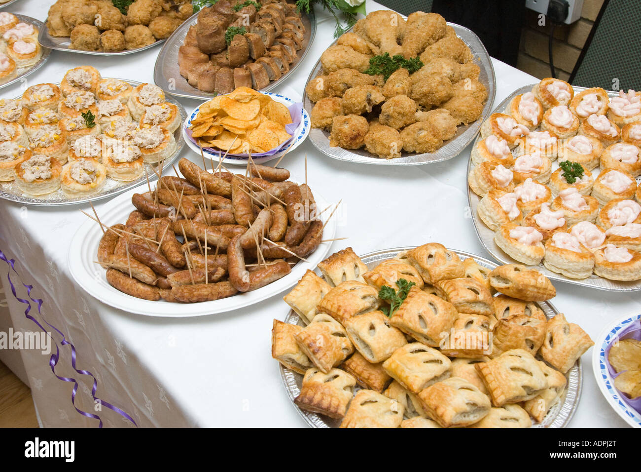 Beautiful Food Buffet Table At A Wedding Reception In The Uk Stock