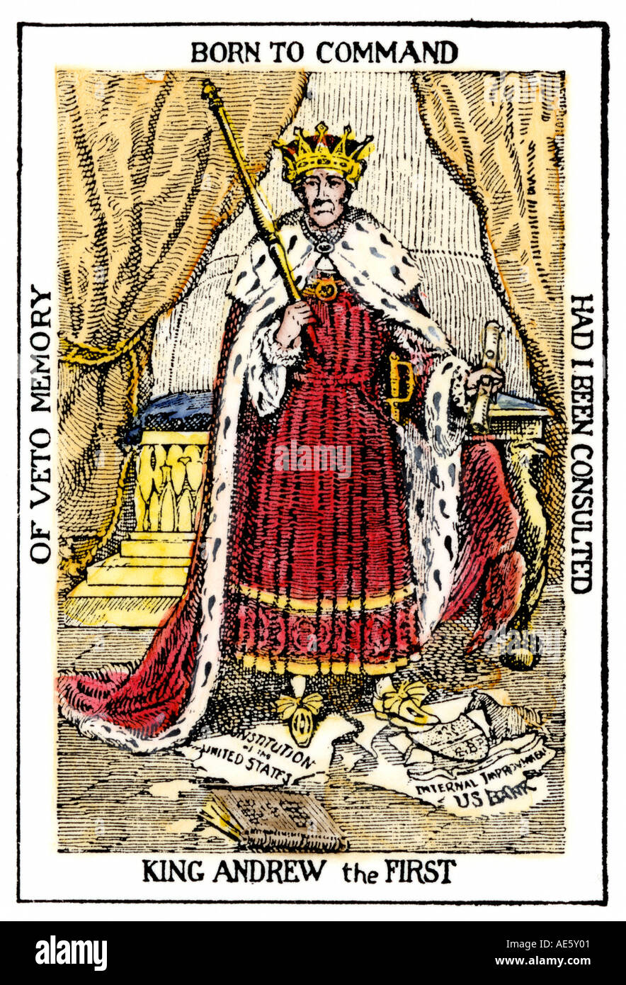 King Jackson Cartoon Of President Andrew Jackson As King Andrew The First Stock