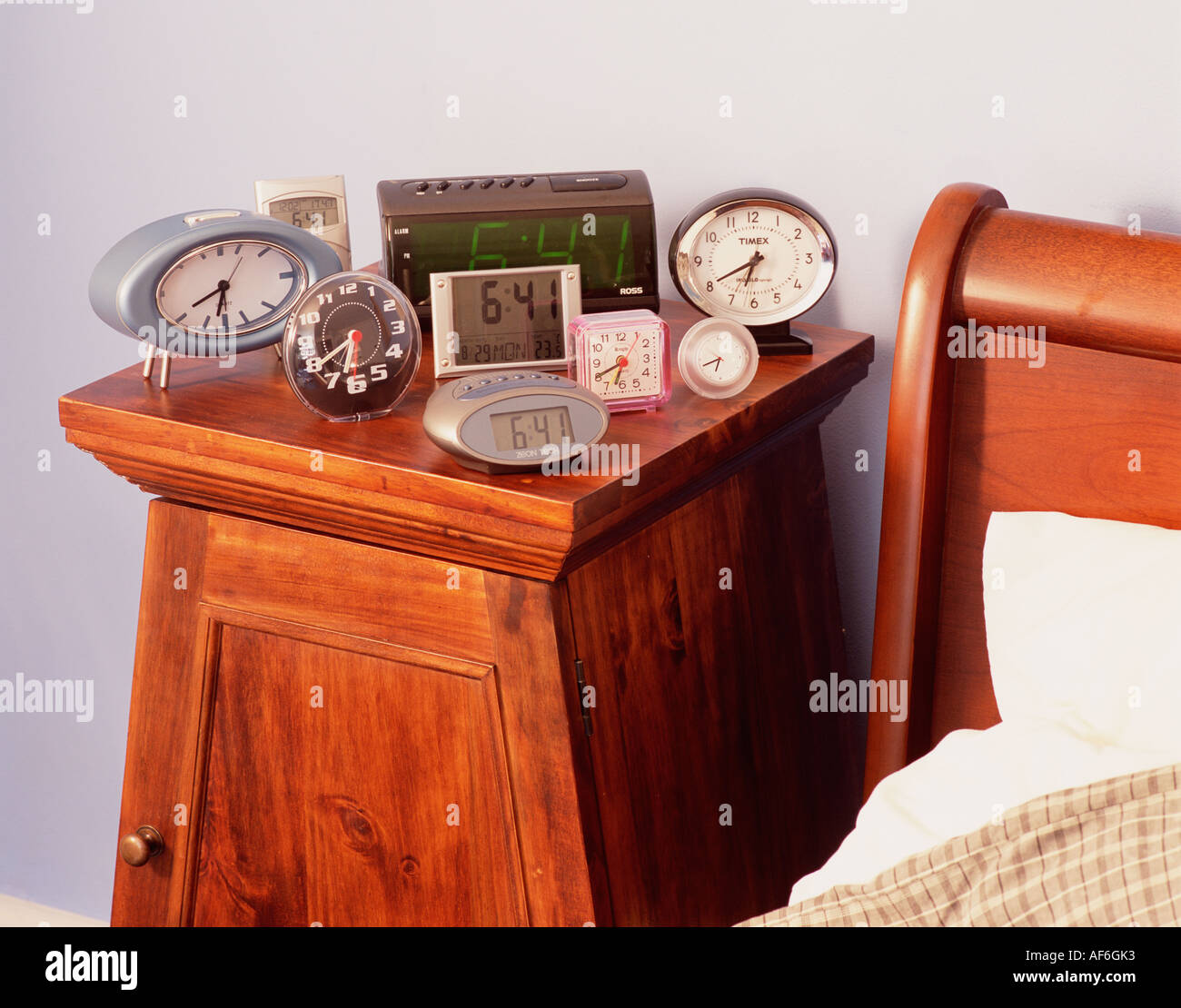 Bedside Table Clocks Bed Time Routine Night Stock Photos And Bed Time Routine