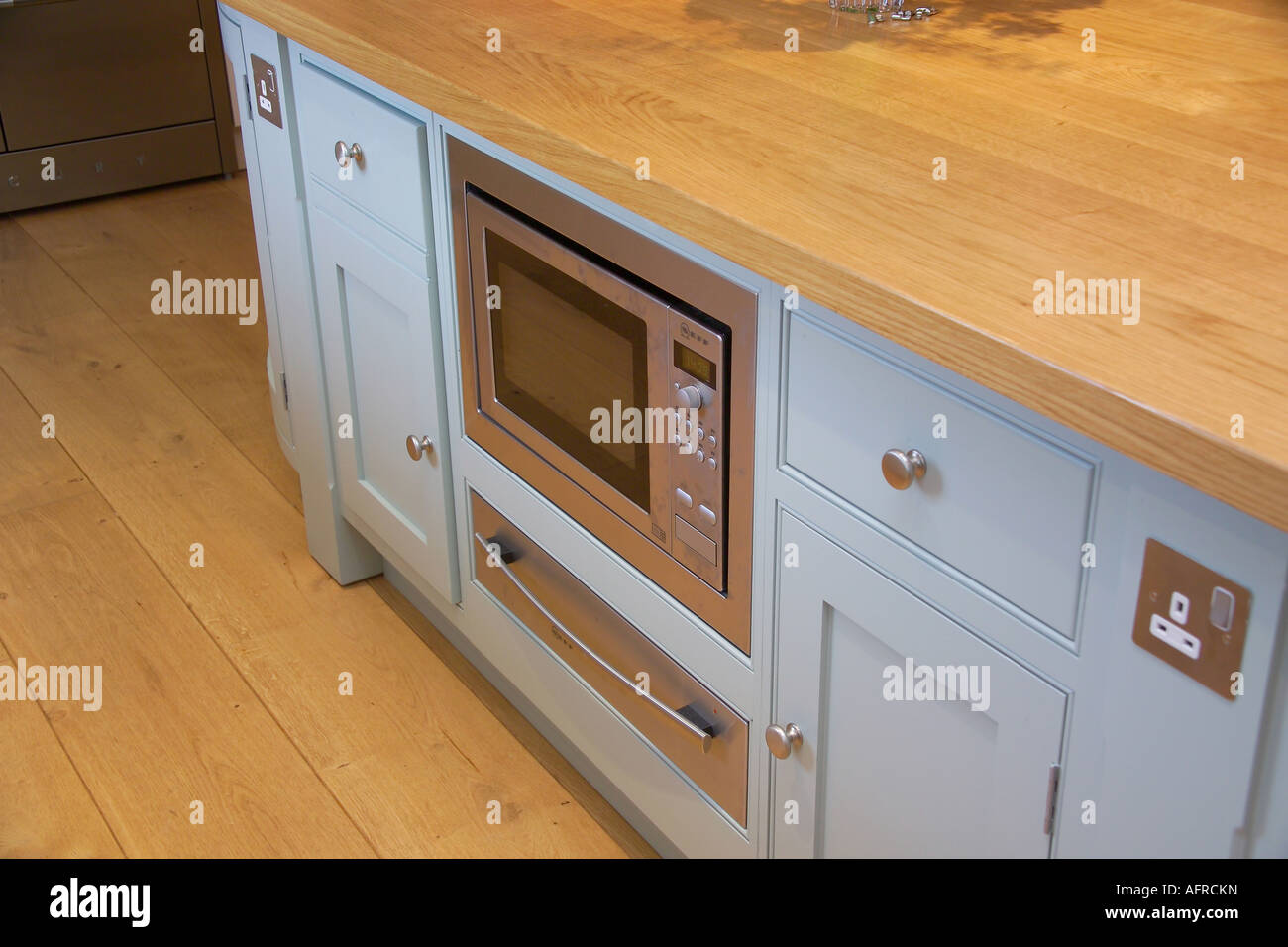 Countertop Warming Drawer Close Up Of Kitchen Unit With Built In Microwave Oven And