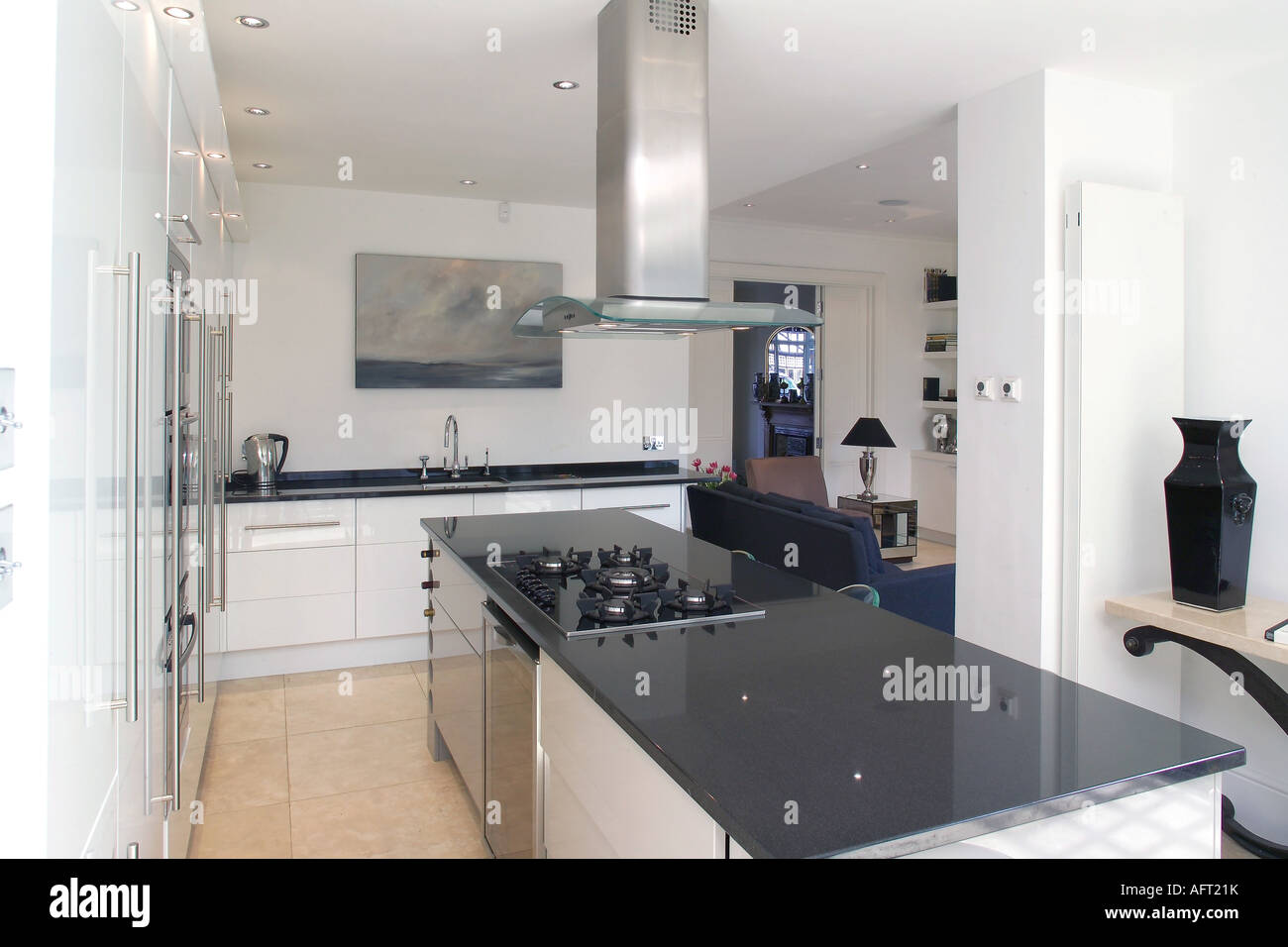Modern Kitchen Fans Extractor Fan Above Hob In Black Granite Island Unit In