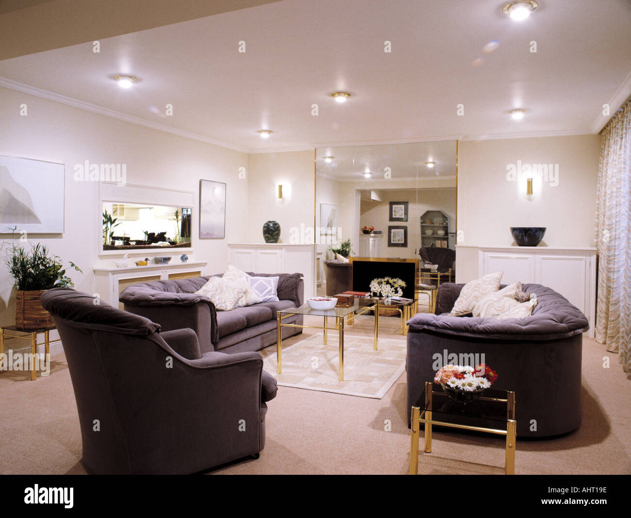 Gray Sofas For Living Room Gray Sofas And Armchair In Modern White Living Room With