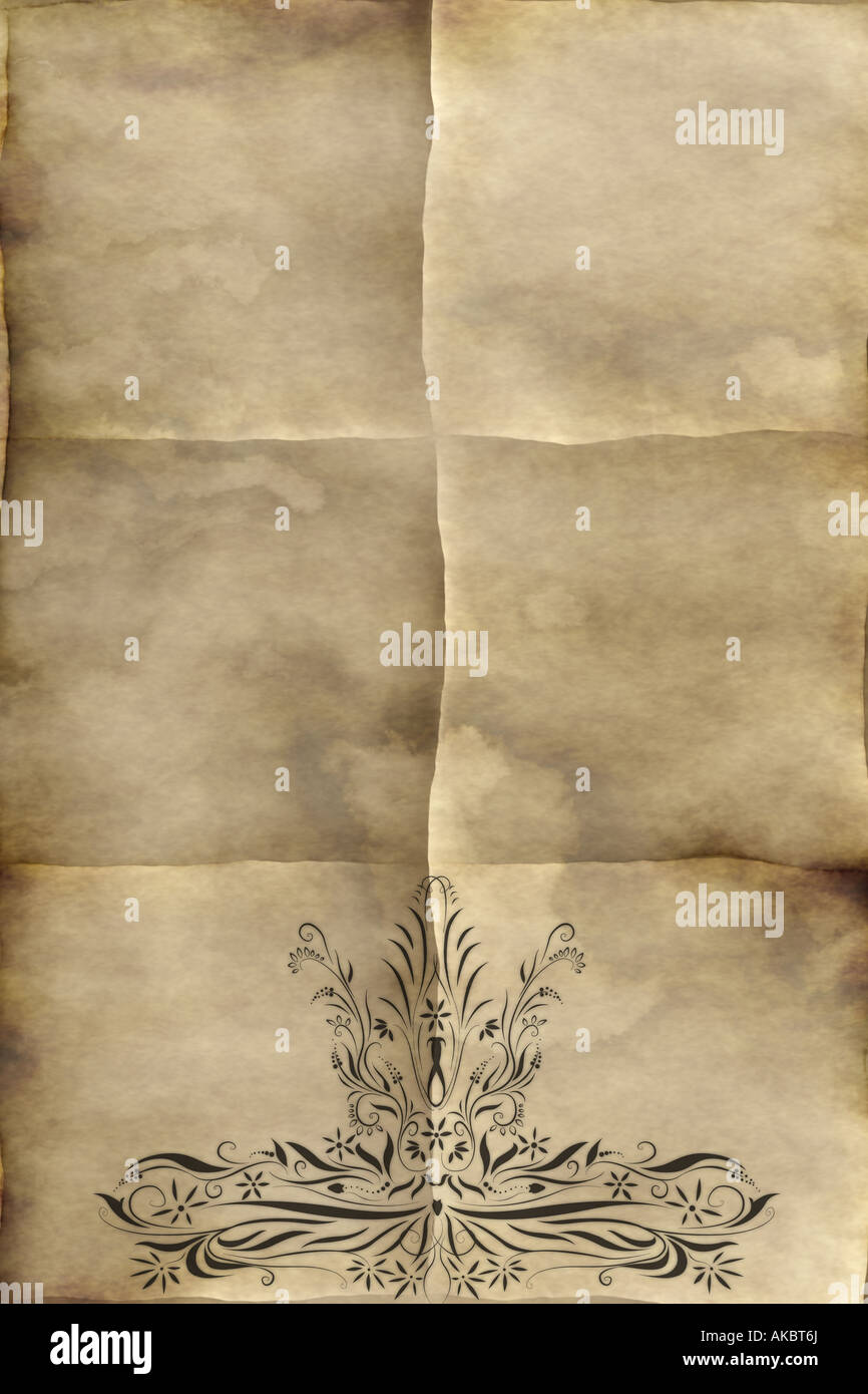 Regal Design Background Image Of Old Paper Or Parchment With Regal Design Stock Photo - Alamy