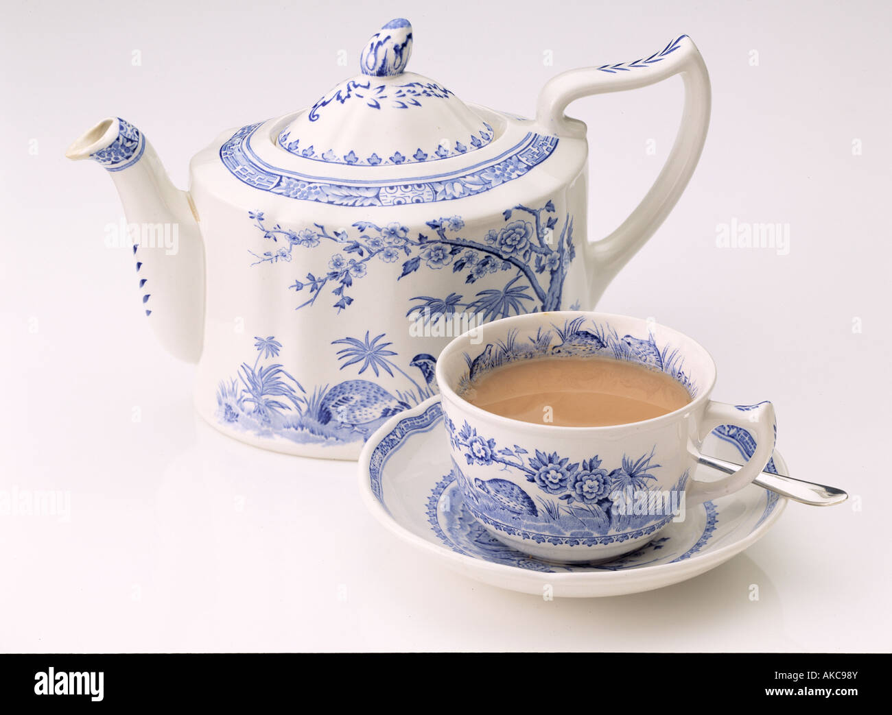 Teapot With Cup An Antique Wedgwood Teapot Cup And Saucer Of Tea On A White Stock