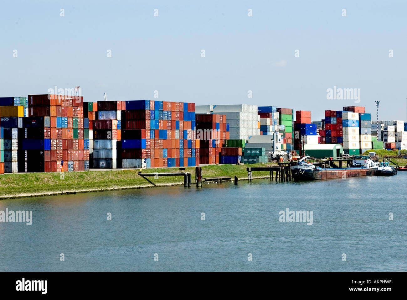 Container Freiburg Rotterdam Netherlands Port Harbour Dutch Holland Container Stock