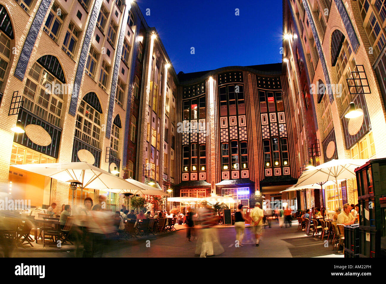 Fliesen Markt Berlin Hackescher Markt At Night, Berlin, Germany Stock Photo