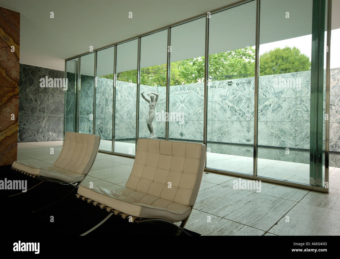 Interior Of The Pavello Mies Van Der Rohe Barcelona Stock Photo Alamy