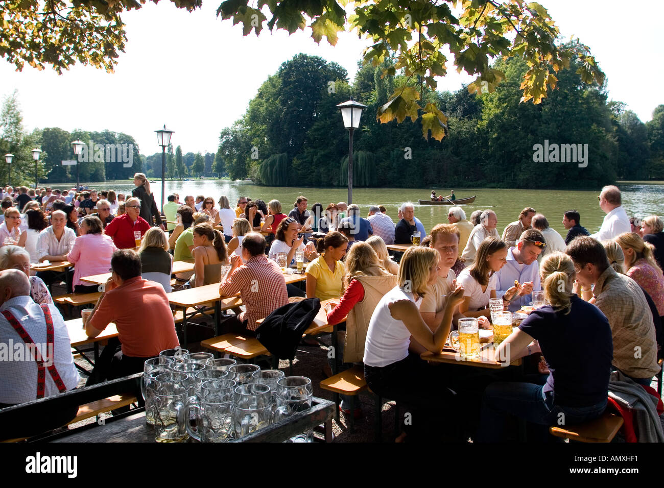 Restaurants Englischer Garten Germany Munich People Sitting In A Beer Garden Called Seehaus