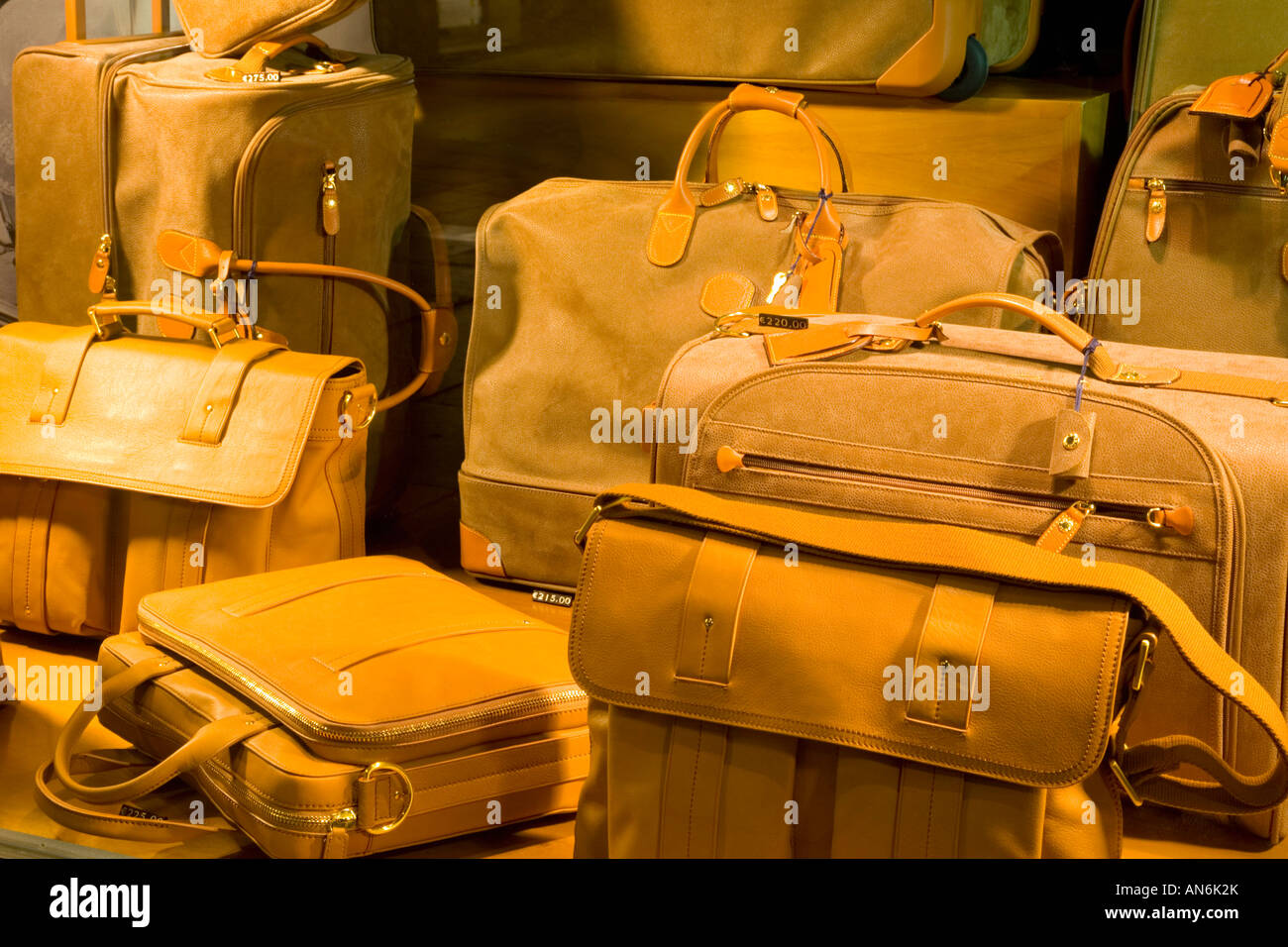 Leather Shop Verona Veneto Italy Leather Bags On Display In Upmarket Shop