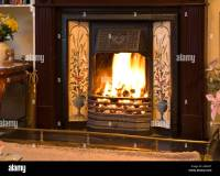 A blazing open fire in a victorian syle fireplace Stock ...