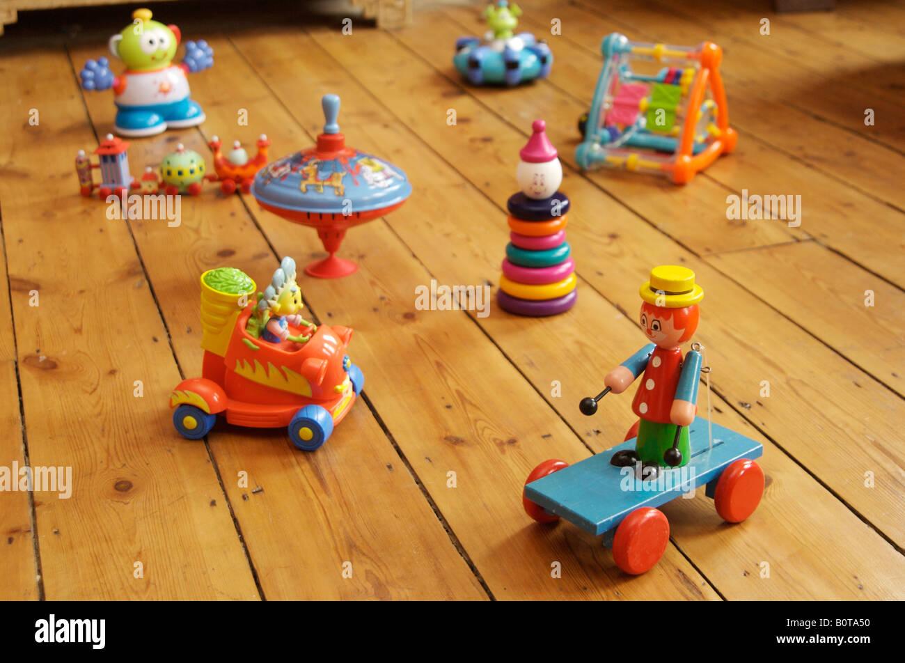 Children39s Toys On Wooden Floor Stock Photo 17745196 Alamy