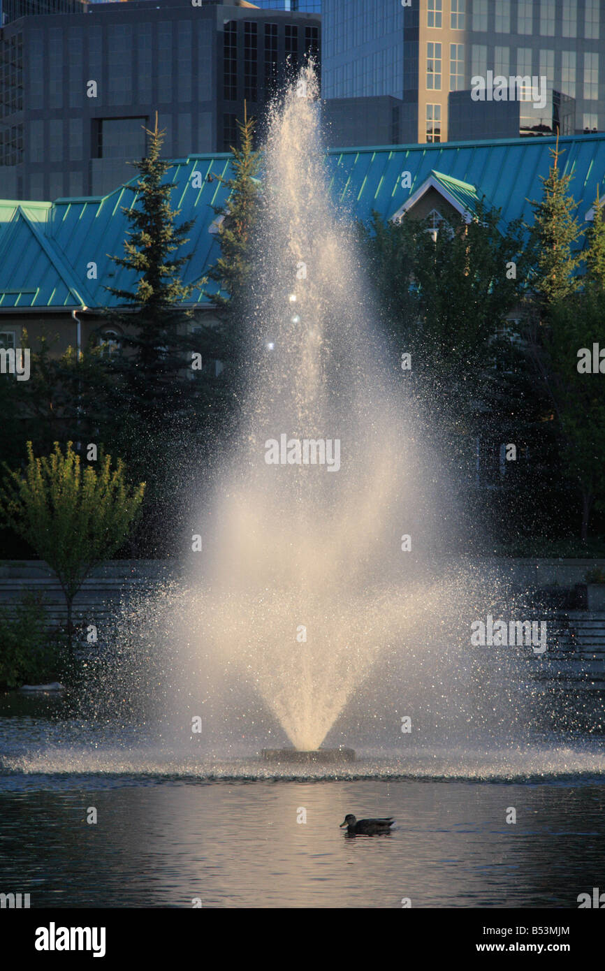 Stock photo water fountain in calgary alberta