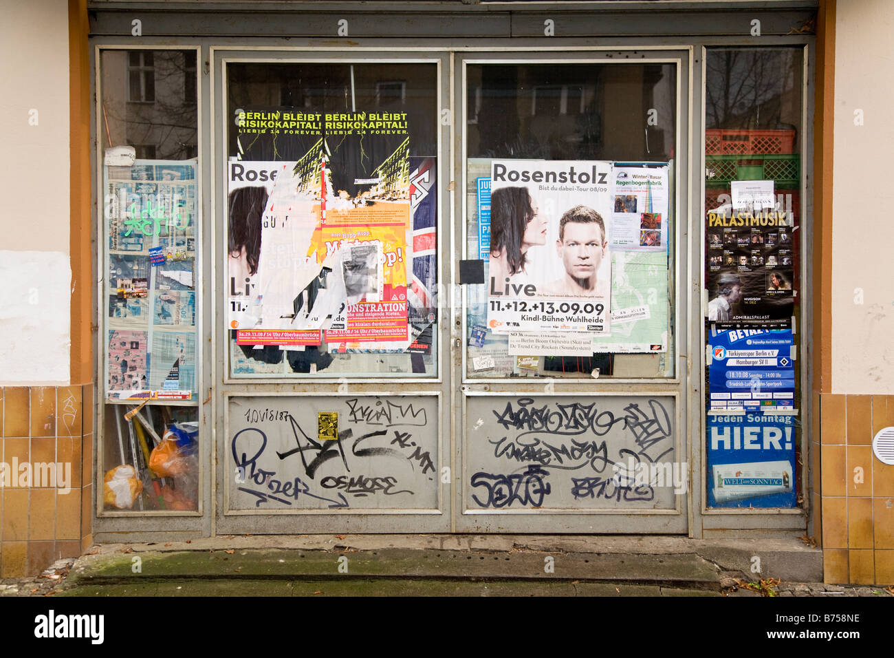 Poster Shop Berlin A Shop Front Covered In Flyers And Gig Posters Stock Photo