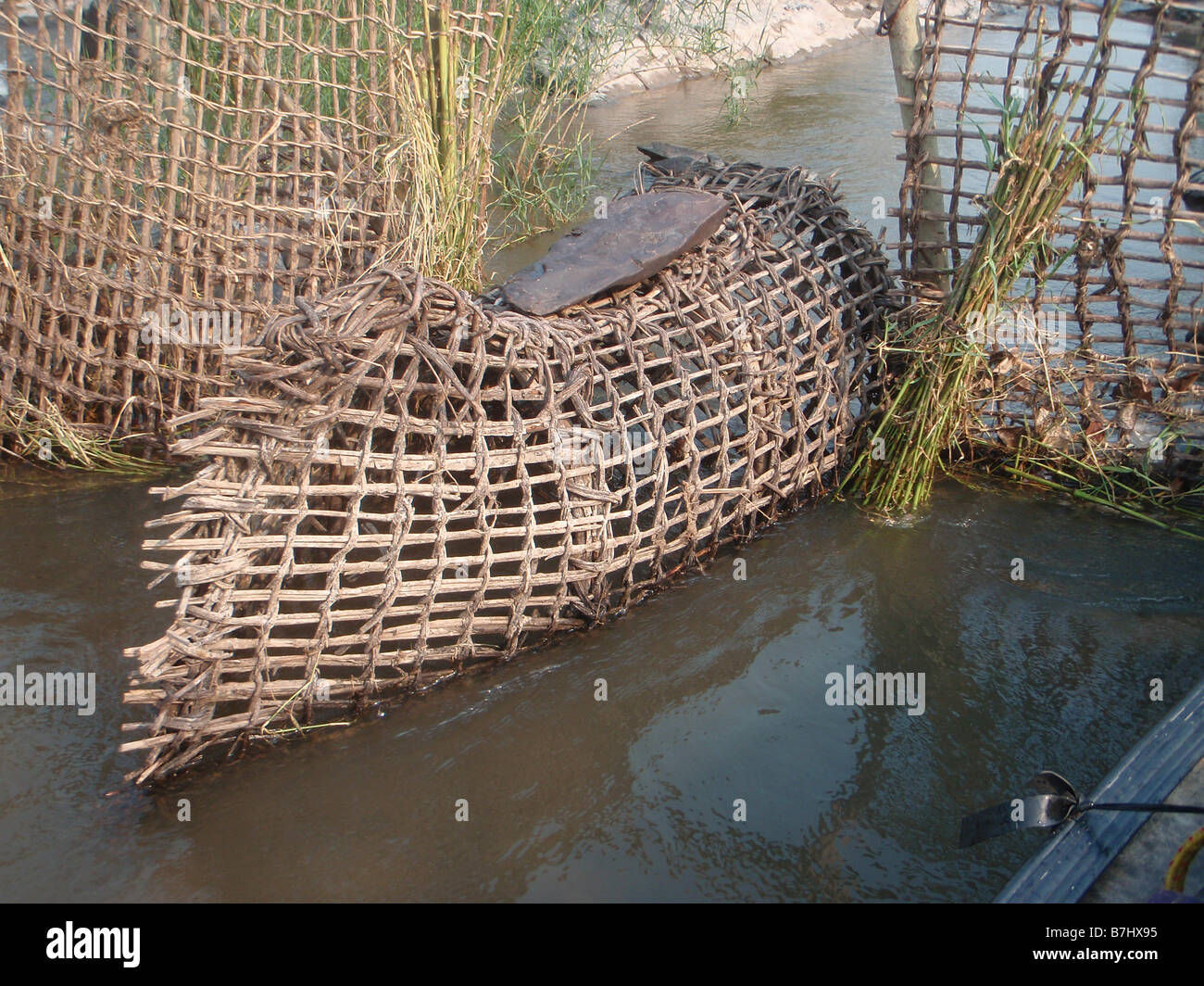 Bank Rattan Conical Fish Traps Of Rattan Palm Leaves And Wood In Bank Of