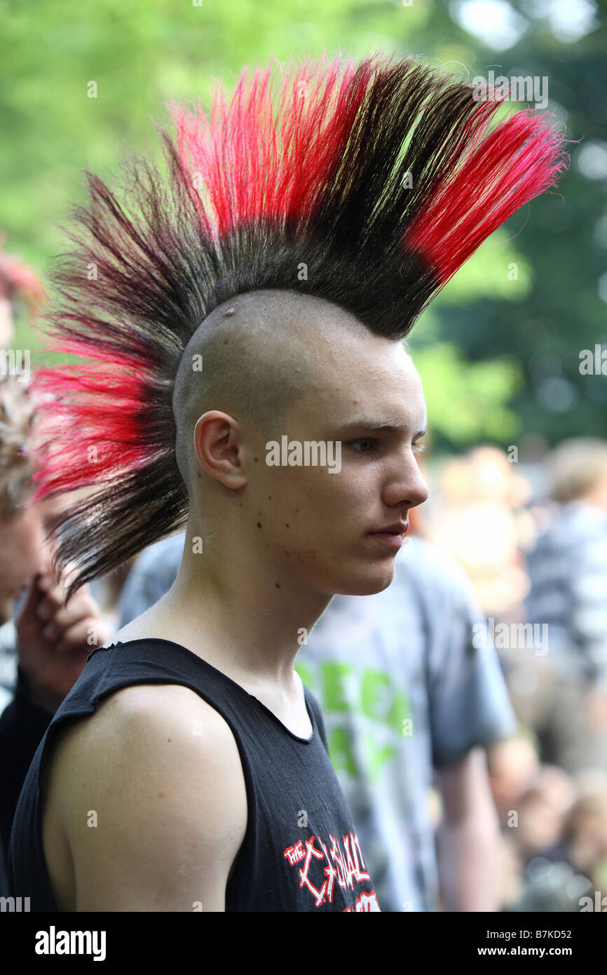 Long Punk Haircuts Punk Boy With Black Red Mohawk Stock Photo 21940382 Alamy