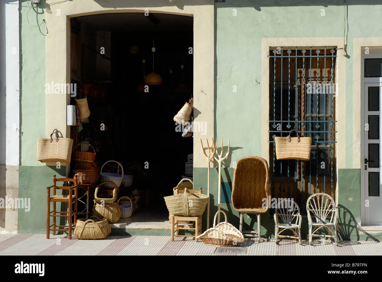 Souvenir Shop Selling Traditional Spanish Baskets And Cane Furniture Stock Photo Alamy