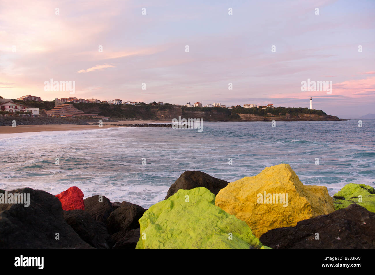 Chambre D Amour Dawn On The Chambre D Amour Beach In Anglet France Stock Photo