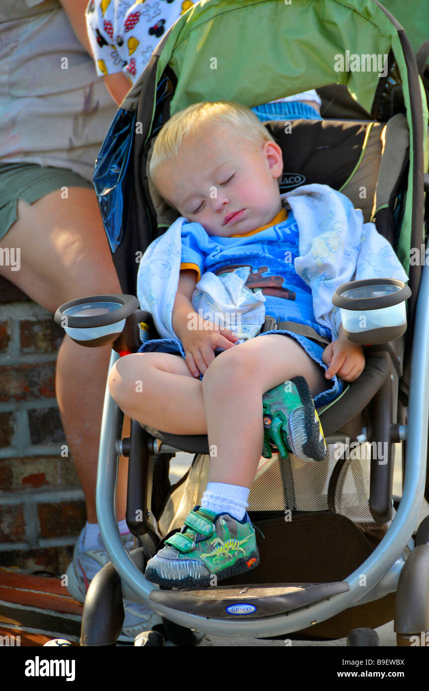 Crib Mobile Usa Infant Baby Boy Naps In Stroller At Downtown Disney
