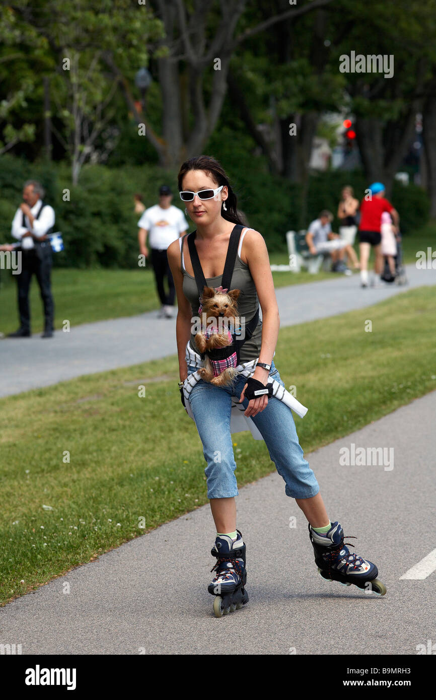 Canada quebec province quebec city plains of abraham young girl and her