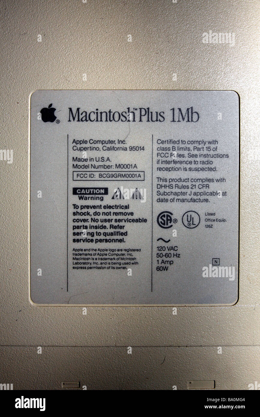 Placard Plus Macintosh Plus 1mb Id Placard From Back Of Unit Stock Photo