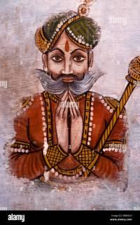 Indian Wall Painting of Maharaja (King), North India Stock ...