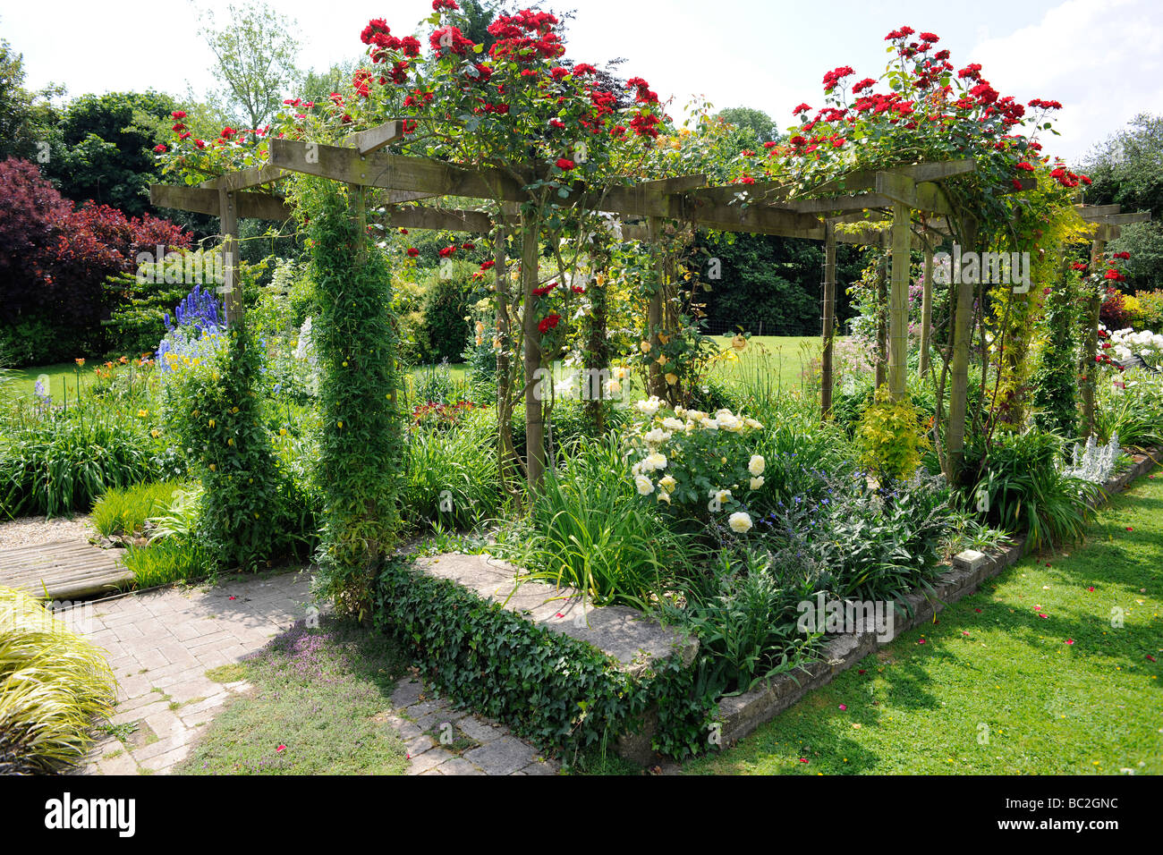 Superbe English Garden With Roses On A Pergola In Somerset Stock