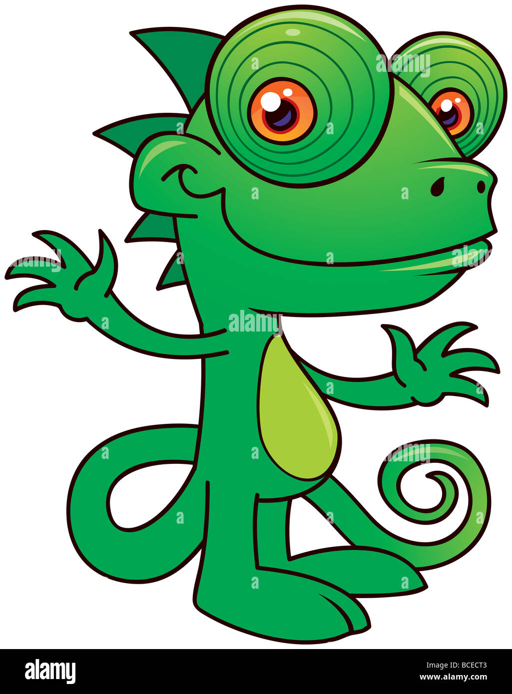 Chameleon Style Vector Illustration Of A Happy Little Chameleon Drawn In A
