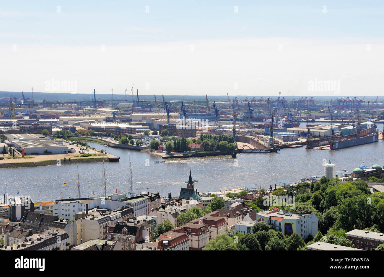 Blohm Haus View Of Hamburg From St Michaelskirche Church Elbe River