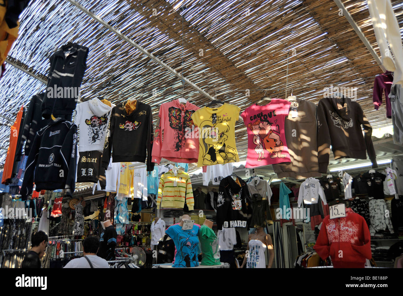Billige Klamotten Bazaar With Faked Clothes Near Kusadasi Turkey Stock Photo