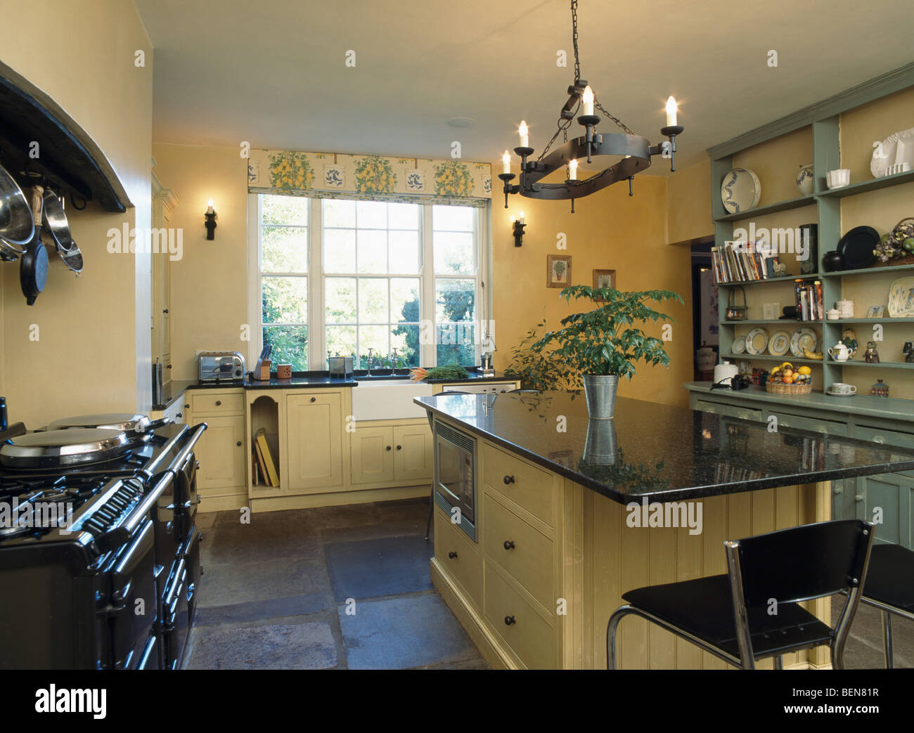 Black Wrought Iron Kitchen Light Fixtures Black Wrought Iron Light Fitting Above Island Unit With Granite