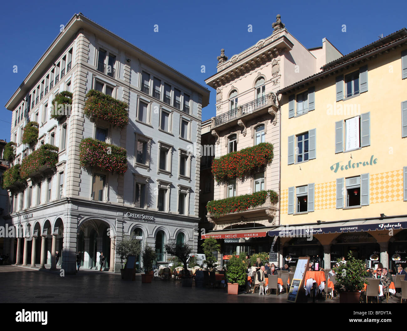 Arte Restaurant Lugano Square Lugano Ticino Switzerland Stock Photos Square Lugano
