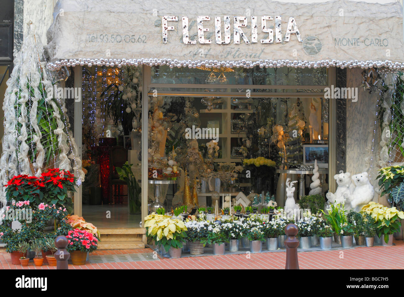 Des Decoration Flower Shop With Christmas Decoration Polar Bears Reindeer Stock