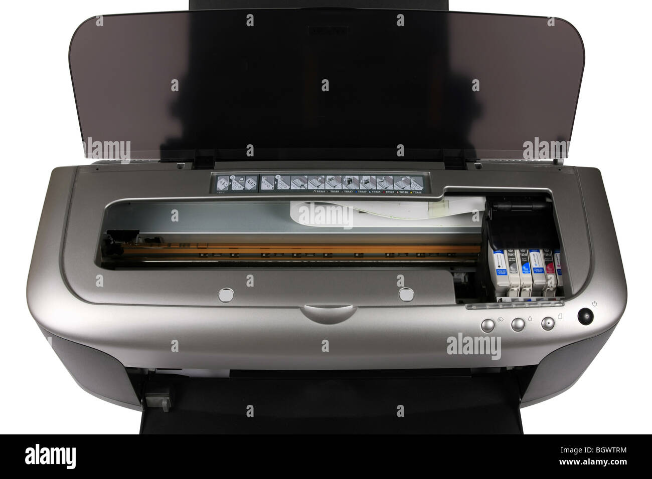 A3 Photo Printing Inside An A3 Inkjet Printer Showing The Cartridges And Printing