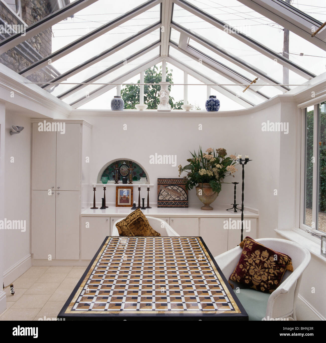 Glass Roof Extension Table With Patterned Top In Dining Room Extension With Glass Roof